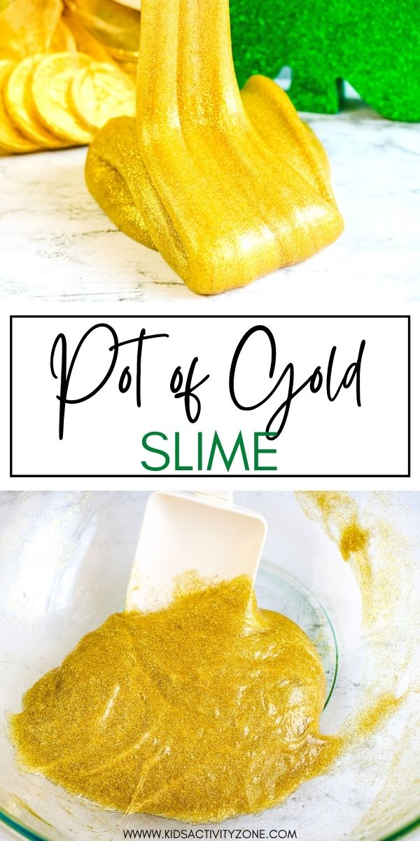 This quick and easy Pot of Gold Slime recipe perfect for St. Patrick's Day! The kids will love the glittery gold color. It only requires 3 ingredients and is so easy to make. When it's comes to kids crafts slime is one of the easiest things to make and kids have so much fun playing with it!