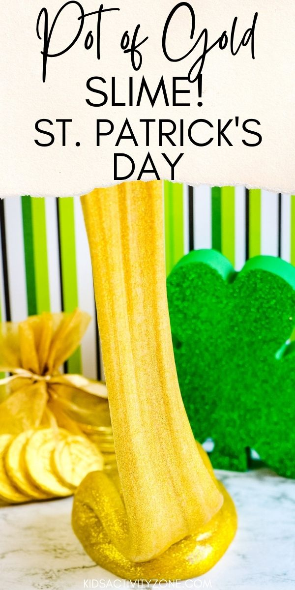 St. Patrick's Day Slime Recipe! This Pot of Gold Slime is perfect for leprechaun day. With only three ingredients it's so easy to make. The glittery gold color is achieved by using gold glitter glue. Mix up a batch and have fun today.
