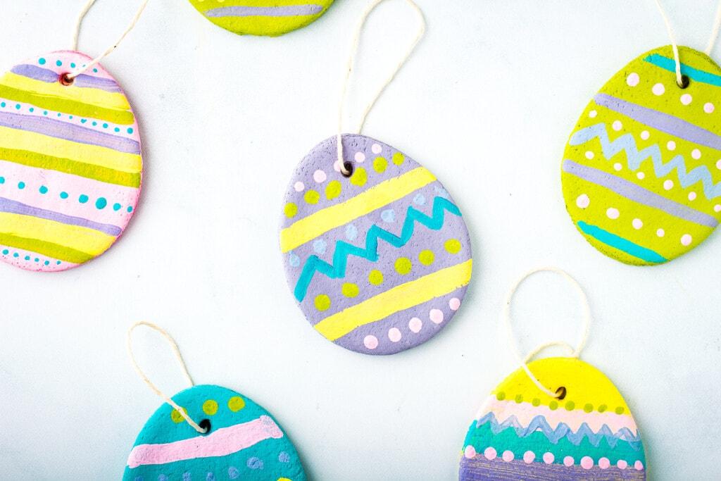 Painted Salt Dough Easter Egg Ornaments