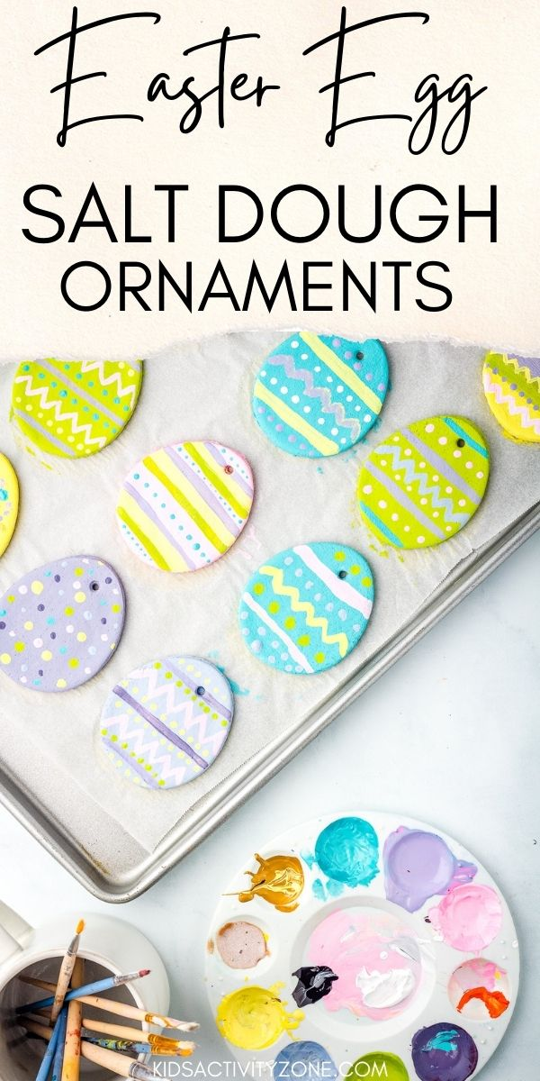 Salt Dough Easter Egg Ornaments are an easy Easter craft to make. Simply make your salt dough with only three ingredients, roll out, cut Easter eggs out. Then bake or let dry out and decorate. They are perfect for decorating your Easter Tree!