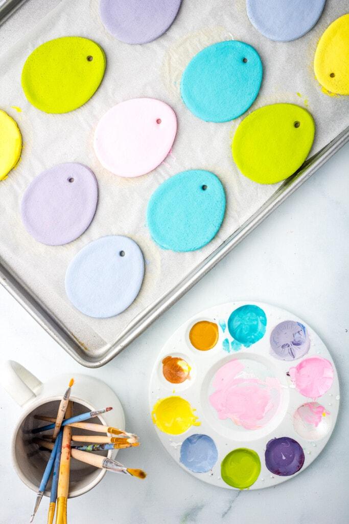 Salt Dough Easter Eggs painted solid colors