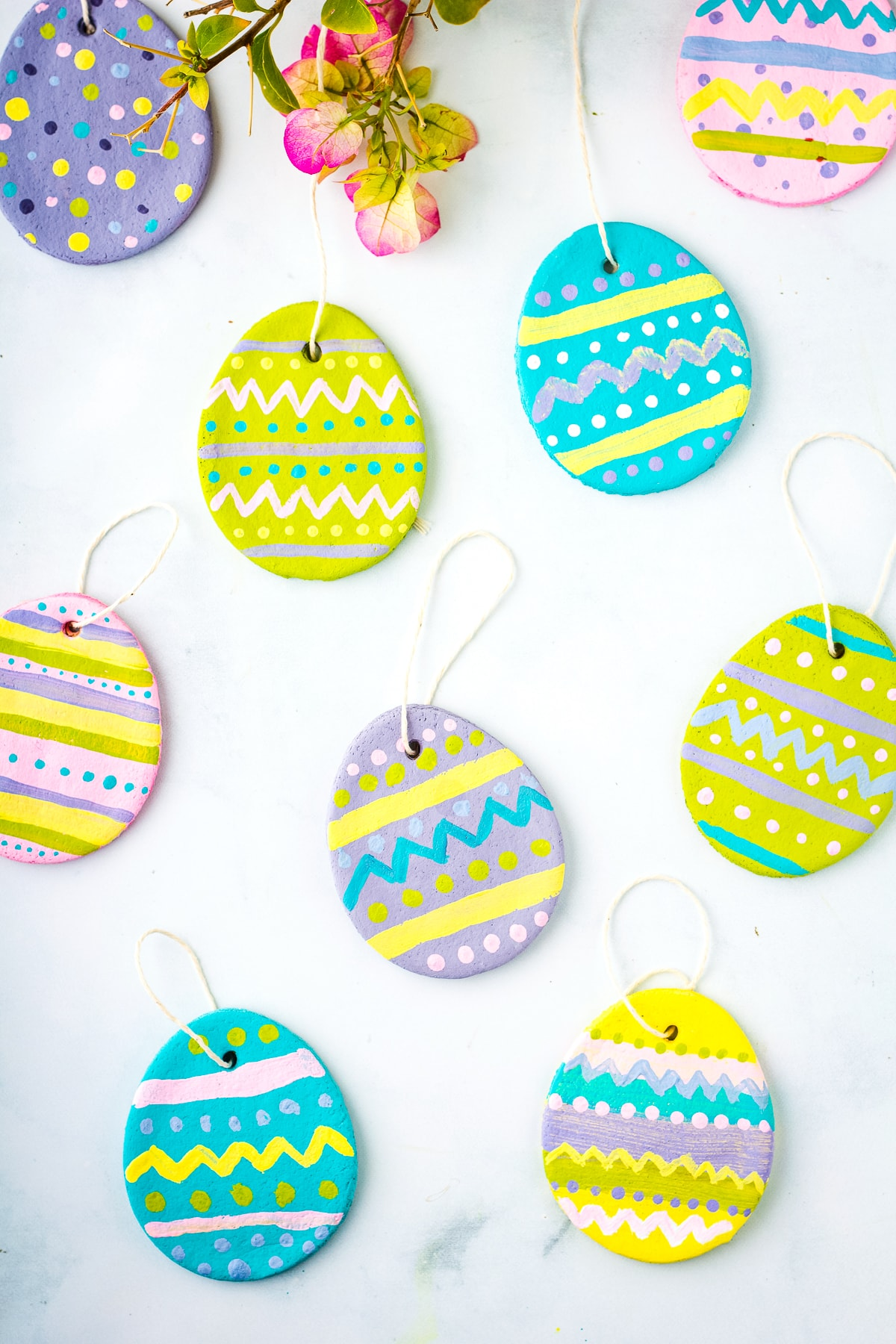 Painted Salt Dough Easter Eggs with ribbon