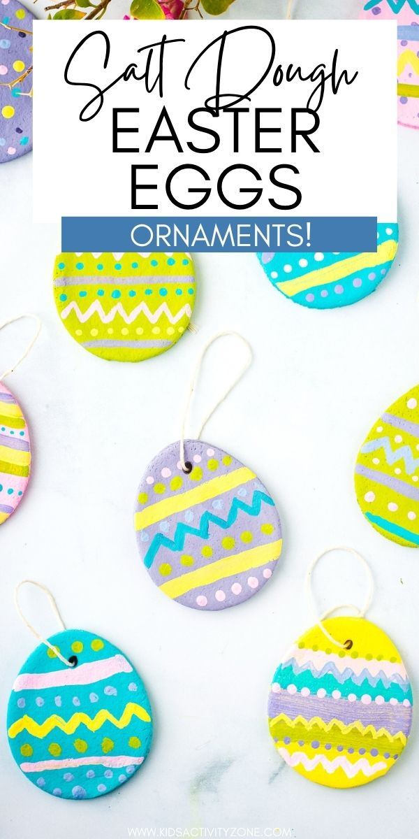 Salt Dough Easter Eggs are so pretty and such a fun Easter Craft. You can keep them as keepsakes for years to come! Make a batch of salt dough with only three ingredients. Then roll out, cut out, bake and decorate. The kids will love this Easter Craft!