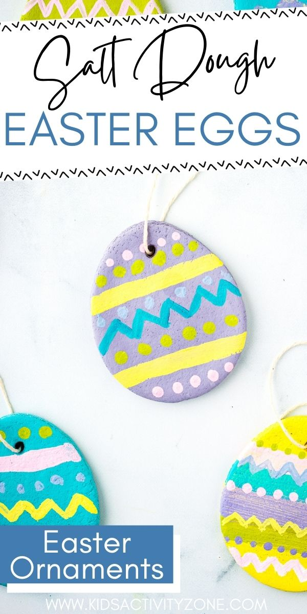 Make these DIY Salt Dough Easter Eggs that are ornaments! They are a fun Easter Craft to do and decorate with or give them away. The salt dough only requires three ingredients and is so easy to make! Such a fun Easter Craft.