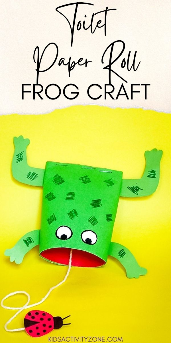 Cute and easy toilet paper roll craft! Create this Toilet Paper Roll Frog Craft with minimal supplies for an easy activity for kids.