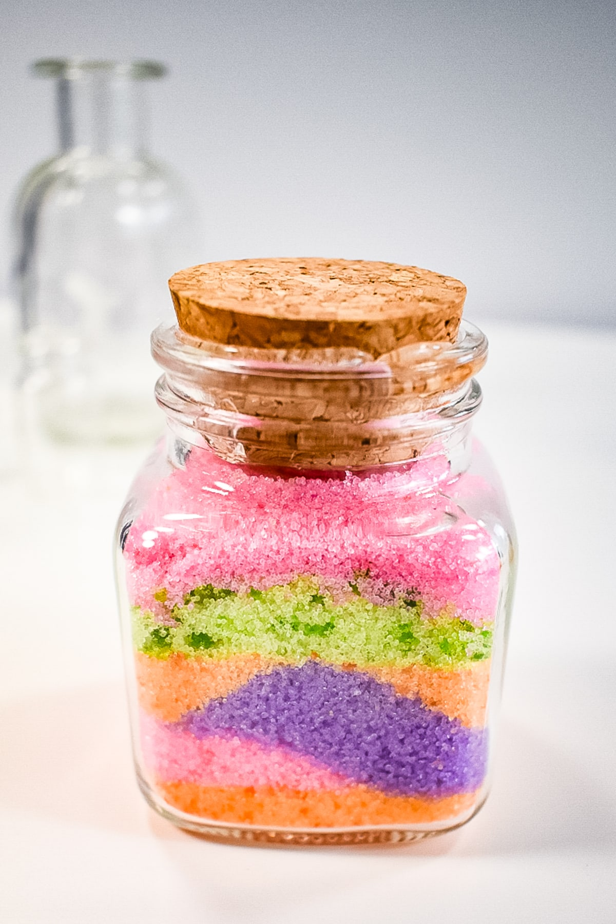 Colored Salt in layers in a jar, colourful summer activities
