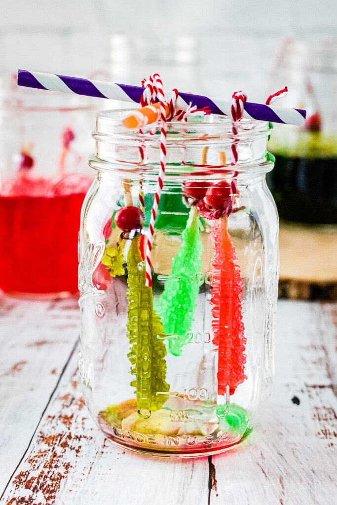 Glass jar with rock candy drying