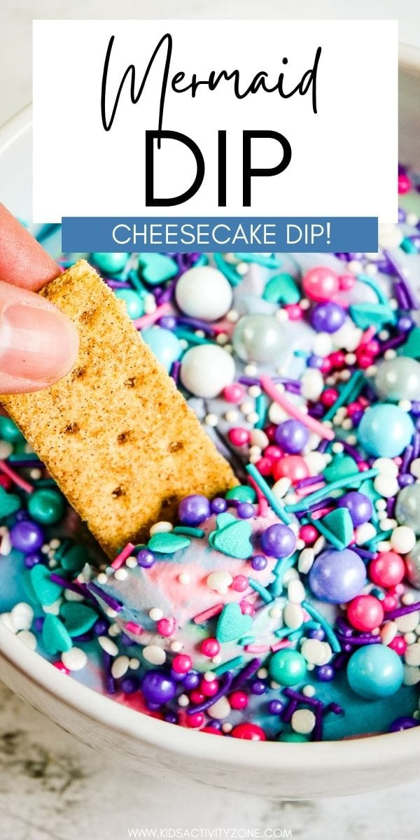 A sweet and delicious cheesecake marshmallow dip with festive colors! This Mermaid Dip is the perfect dessert dip to dunk vanilla wafers, butter cookies, shortbread cookies and so much more in. The fun Mermaid themed colors make it the perfect addition to birthday parties and so much more!