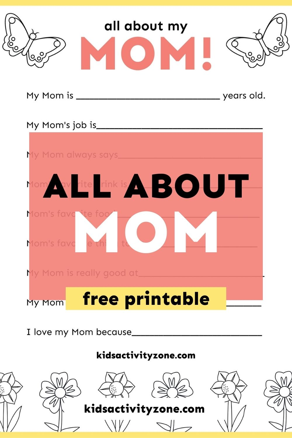 Grab this quick and easy All About Mom Printable that's free! It's the perfect thing to gift to Mom on Mother's Day from the kids. It's something she will treasure and keep forever. There's nothing more precious than looking back on the sweet answers kids give to the questions they are asked about Mom!