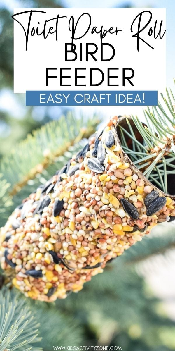Make this quick and easy Toilet Paper Roll Bird Feeder with the kids! It's an easy craft that they will enjoy making with minimal supplies and prep work. It's fun for all ages including  toddlers and preschoolers!