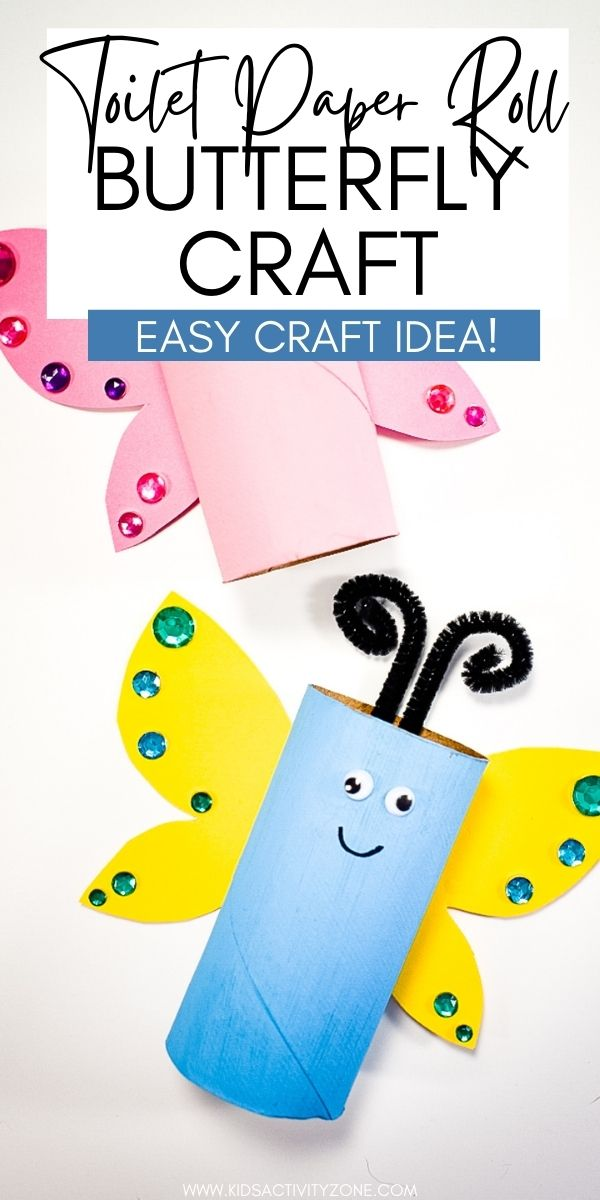 Quick and easy craft that's inexpensive to make! This Toilet Paper Roll Butterfly Craft can be made with craft supplies that are already in your house. Make sure you save all your Toilet Paper Rolls so you can make fun crafts like this with the kids.