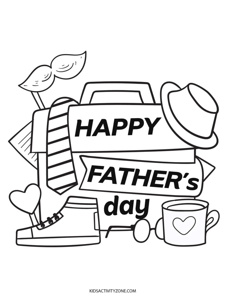 Happy Father's Day Coloring Page Printable