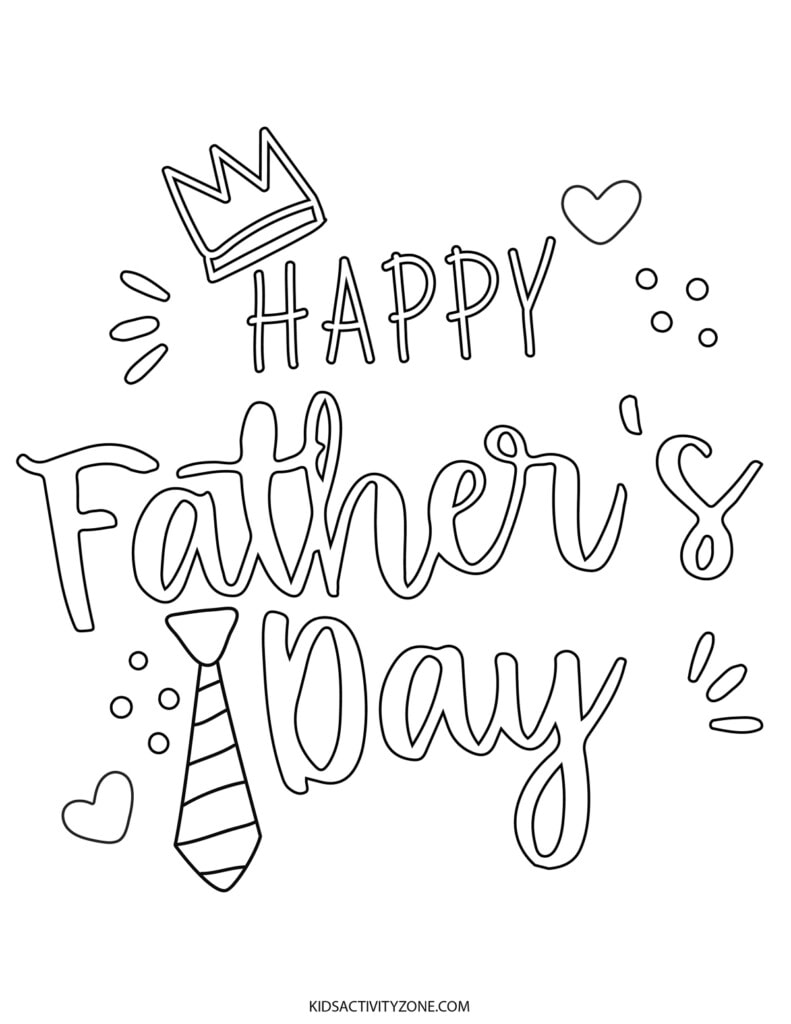 Happy Father's Day Printable Coloring Sheet
