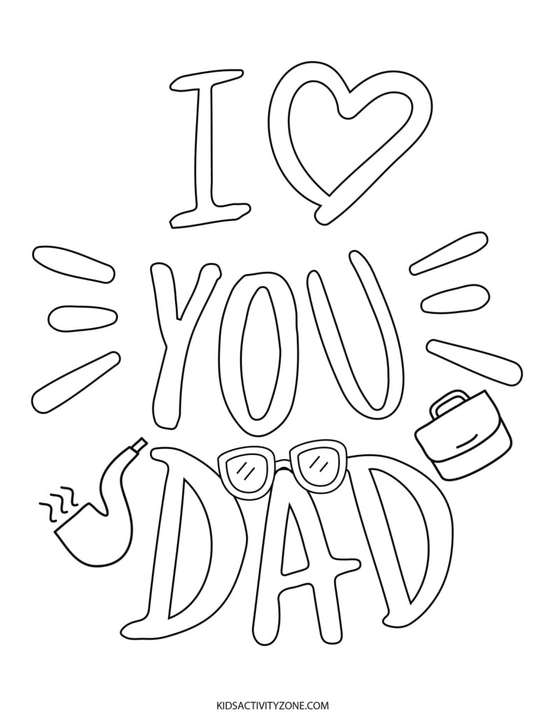 I love You Dad Printable Coloring Page