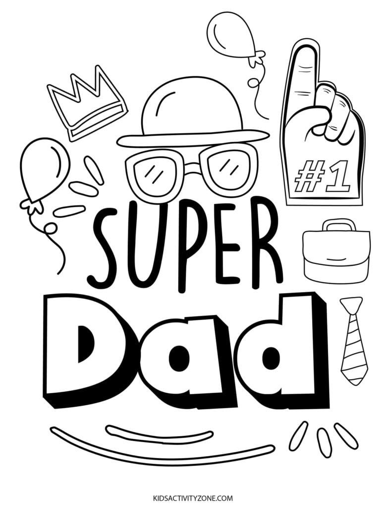 Super Dad Coloring Sheet
