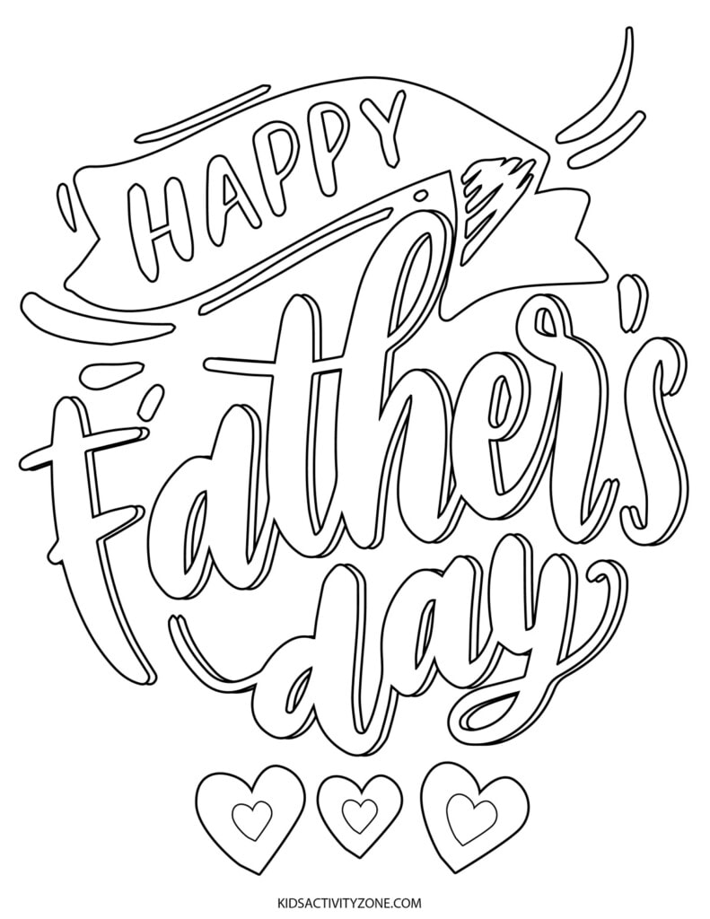 Free Happy Father's Day Printable Coloring Page