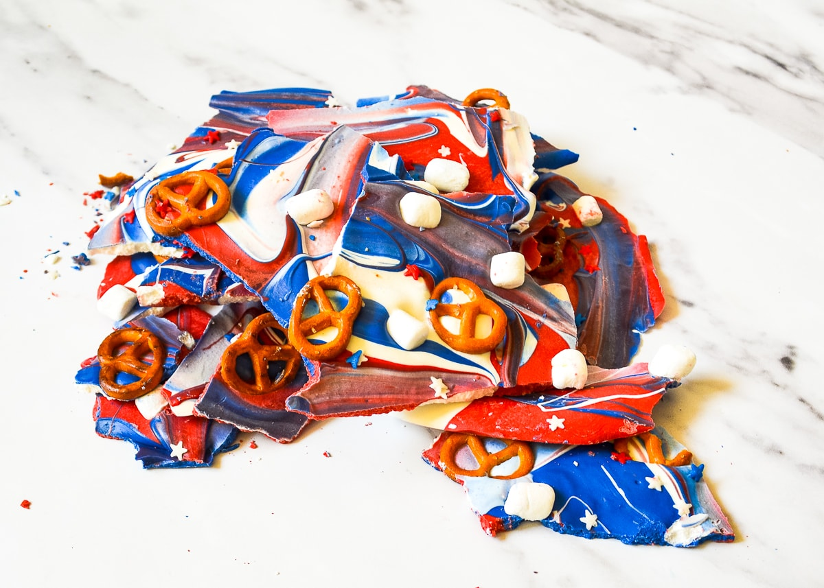 Pieces of 4th of july bark broken and piled together.