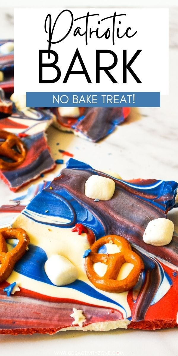 Quick and easy No-Bake Patriotic Bark is the perfect treat for kids to make this summer! It's a great sweet treat for Memorial Day, 4th of July or any picnic. A sweet and salty mixture of candy melts, pretzels, marshmallows and sprinkles.