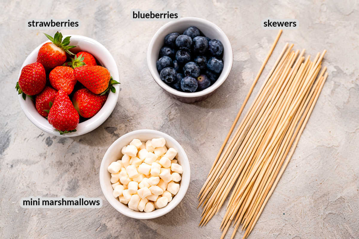 Overhead image of Red White and Blue Fruit Kabobs Ingredients