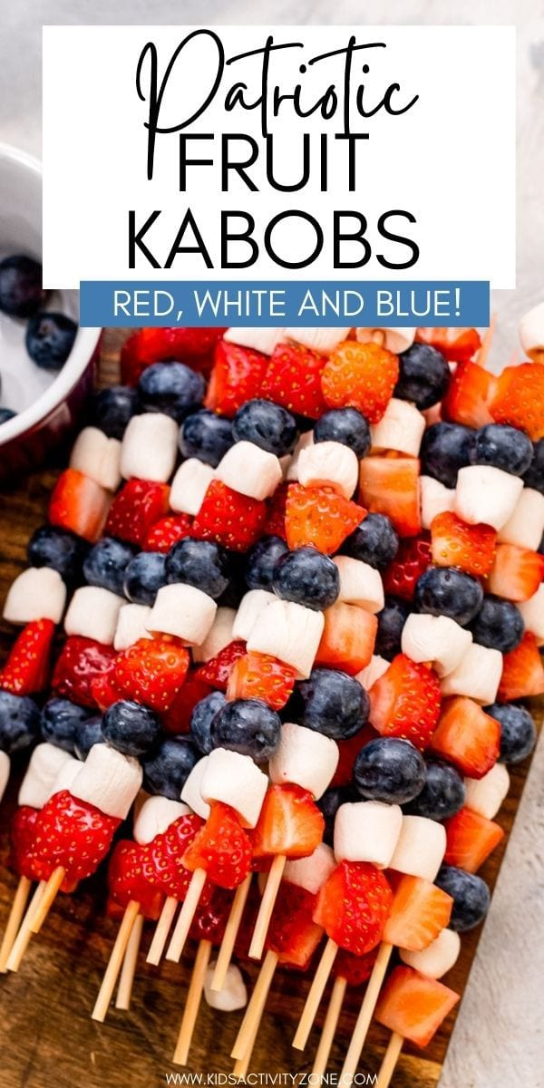 Quick, easy fun party food for the summer! These Red, White and Blue Fruit Kabobs are the perfect patriotic themed recipe for your Memorial Day and 4th of July picnics. So easy to make that the kids can help. Plus, they love to eat them too!