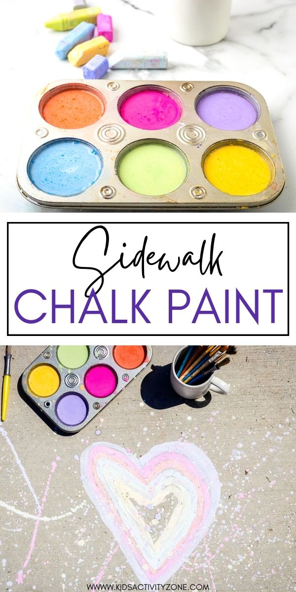 Turn your leftover, broken sidewalk chalk into this fun Sidewalk Chalk Paint! The kids will love using their imagination to paint pictures on the driveway. This quick and easy kids art and craft will keep them busy all day this summer!