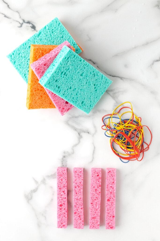 A sponge cut into four equal strips