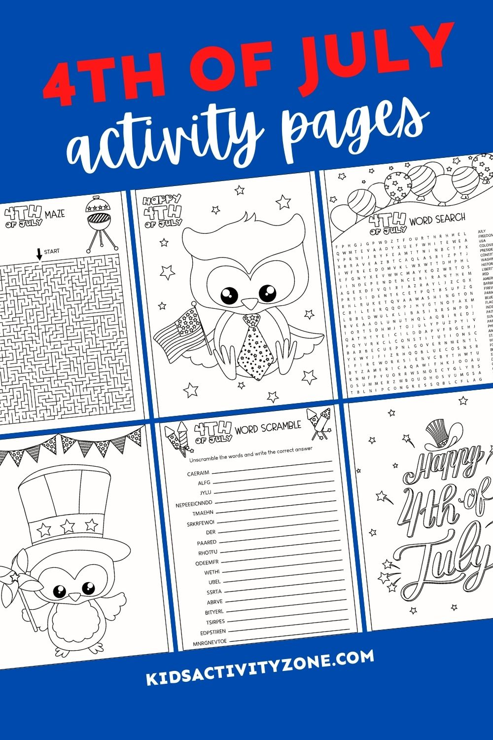 Grab these fun, themed 4th of July Activities. These free printables includes coloring pages, word scramble, word search and word challenge. The perfect addition to parties, fun work for kids during the summer and more!