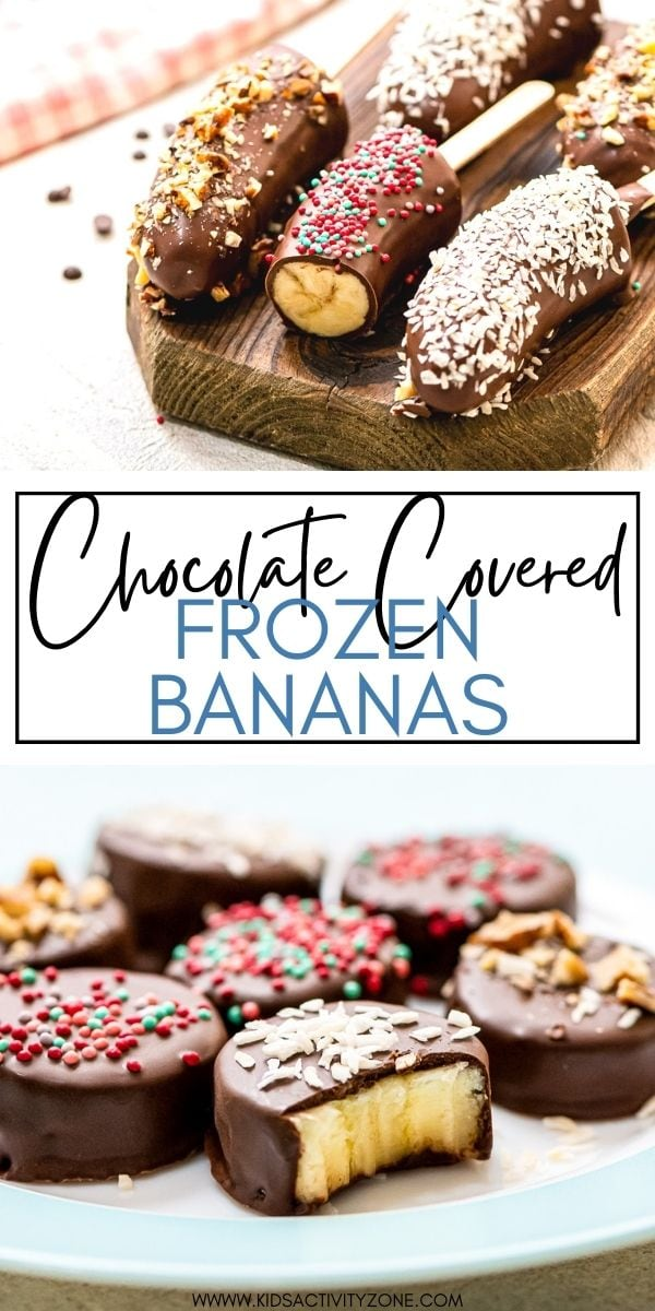 Make these quick and easy Chocolate Covered Frozen Bananas by dipping a half of a banana in chocolate or banana pieces. The perfect treat for kids during the summer that adults will also love!