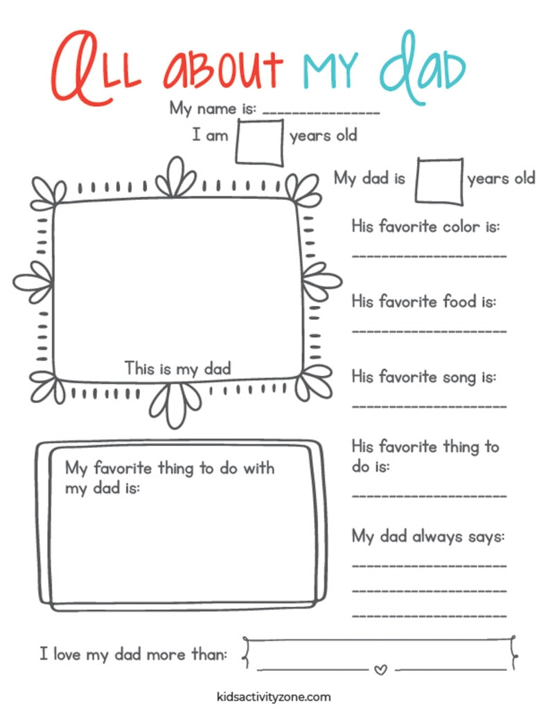 Free Printable All About My Dad