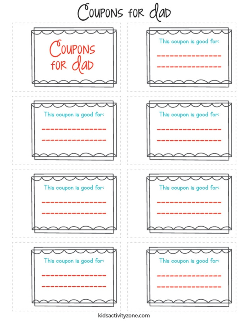 Printable Fill in the Blank Father's Day Coupon Book