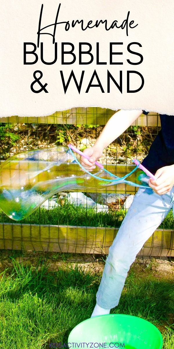 Learn how to make homemade bubbles for summer! All you need is two ingredients plus water for this easy activity. Plus, directions on how to make your own bubble wand out of straws and yarn that makes huge bubbles!