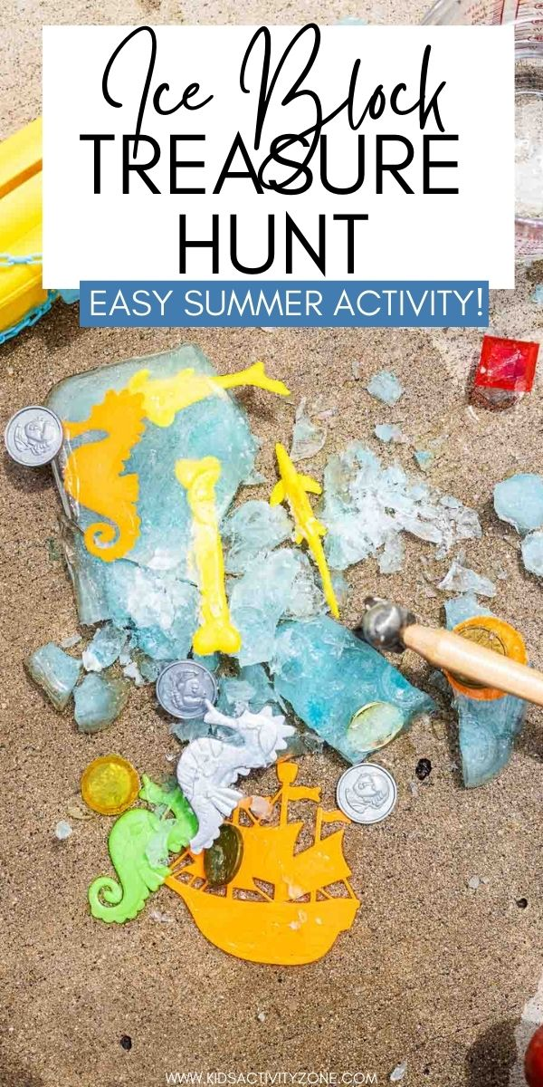 Keep the kids cool this summer with this fun Ice Block Treasure Hunt with a pirate theme. Just buy plastic toys at the dollar store, put them in a pan of water, freeze and then let them have fun chipping away the ice to find their treasures!