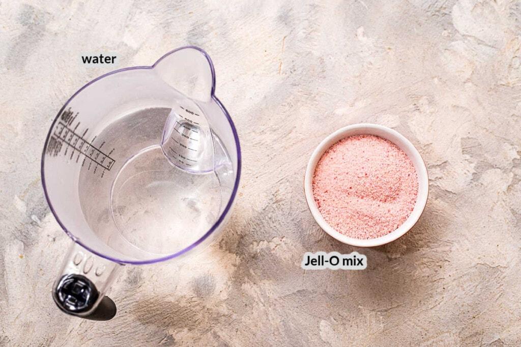 Overhead image of Jello Jiggler Ingredients