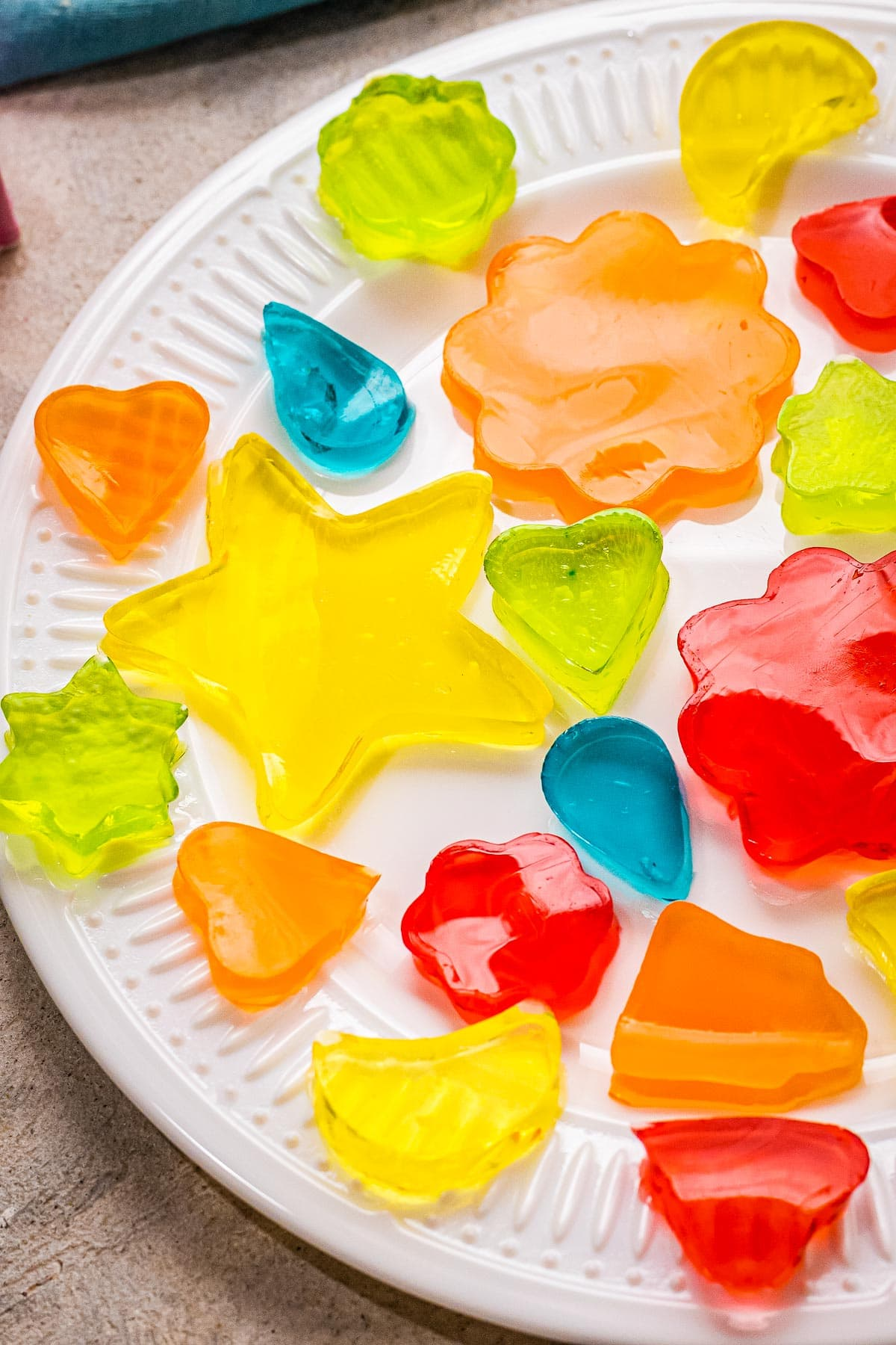Jell-O Jigglers on a white serving plate