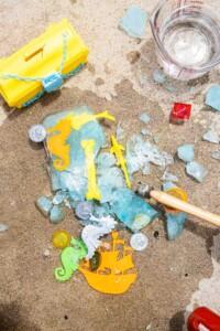 Ice Block Treasure hunt broken apart on concrete