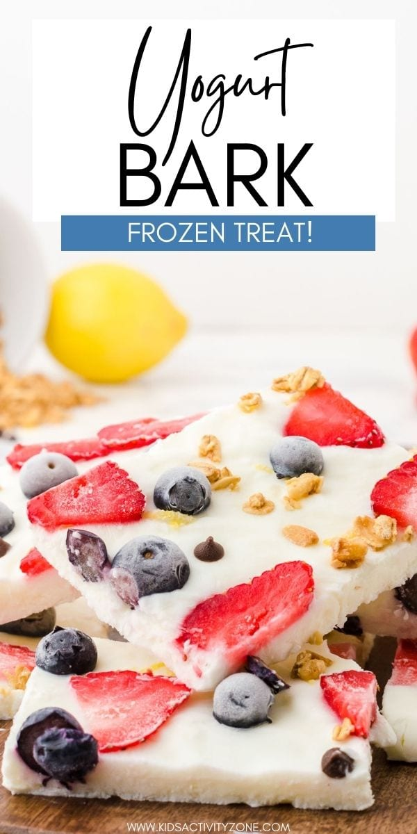 Whip up this easy Yogurt Bark with mixed fruit. An easy no-bake snack or dessert recipe in minutes. Sweetened Greek yogurt is dotted with colorful fresh fruit, granola, and mini chocolate chips and frozen for the perfect grab and go cool treat! It's a festive treat for the 4th of July too!