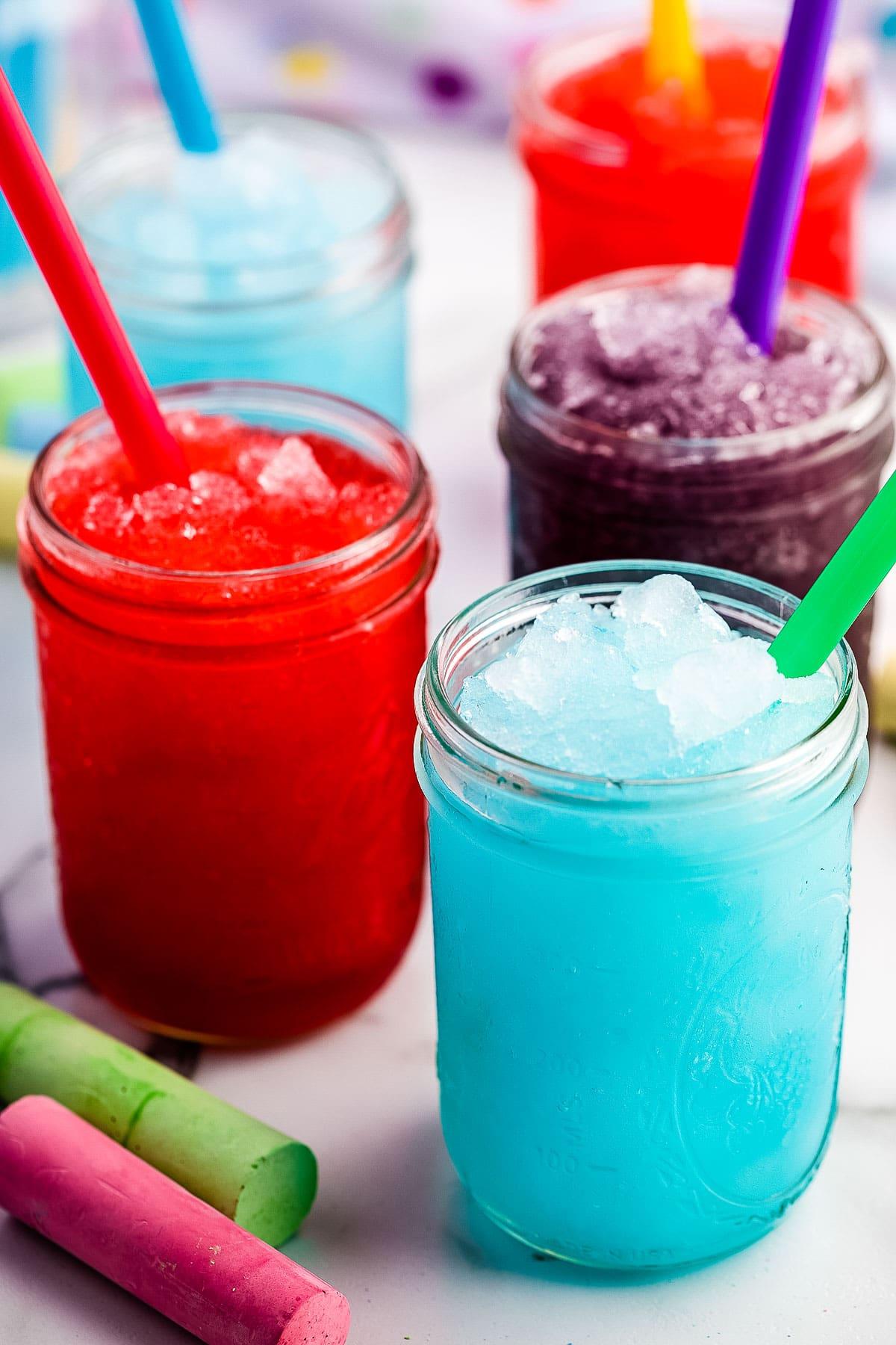 Slushies in mason jars with straws