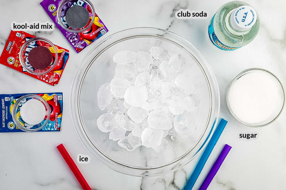 Homemade Slushies Ingredients overhead image