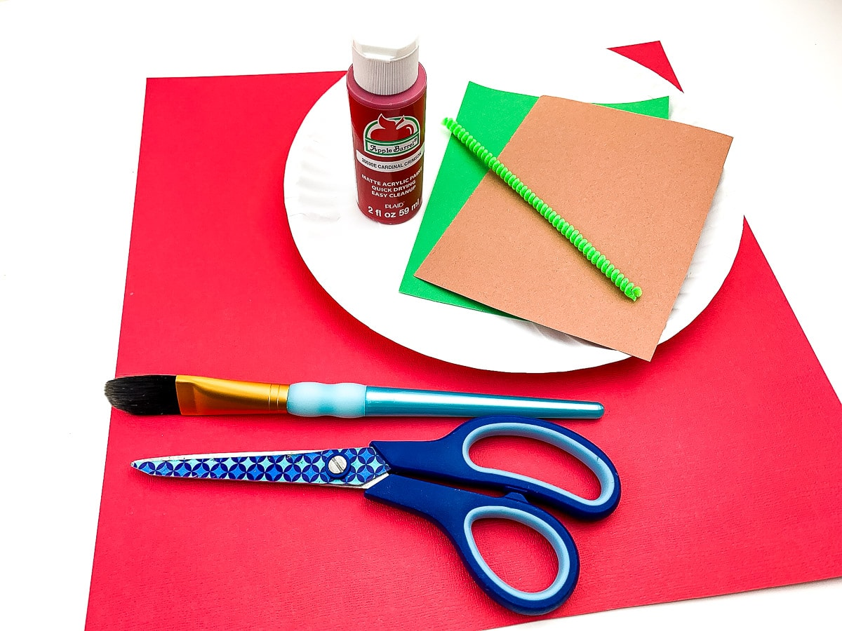 Apple Paper Plate craft supplies
