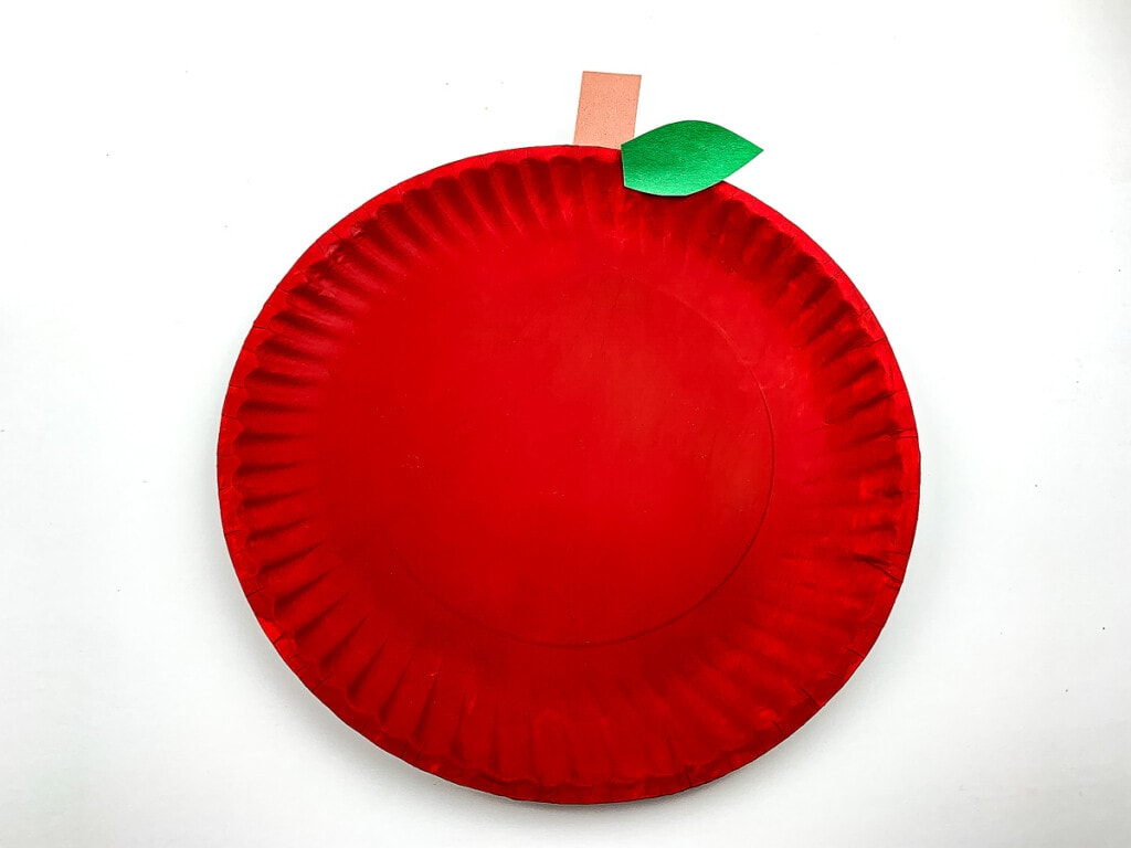 Apple Paper Plate Craft on white background