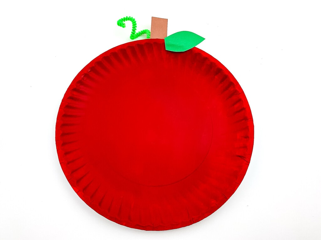 Finished Apple Paper Plate Craft on white background