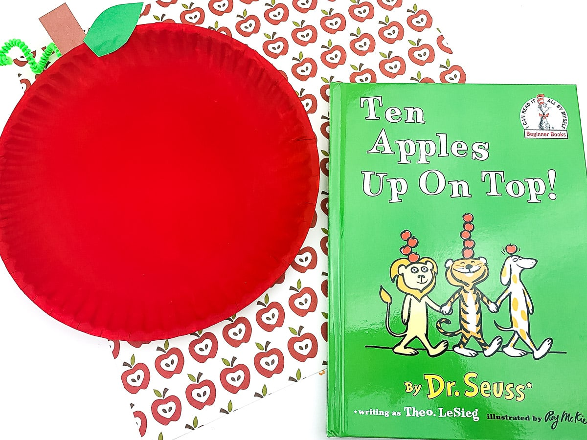 Apple Paper plate craft with Dr. Seuss apple books
