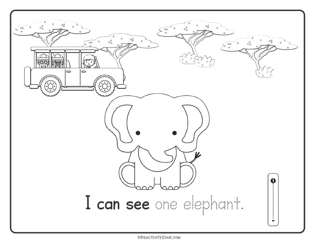 Safari Count and Trace Worksheets number 1