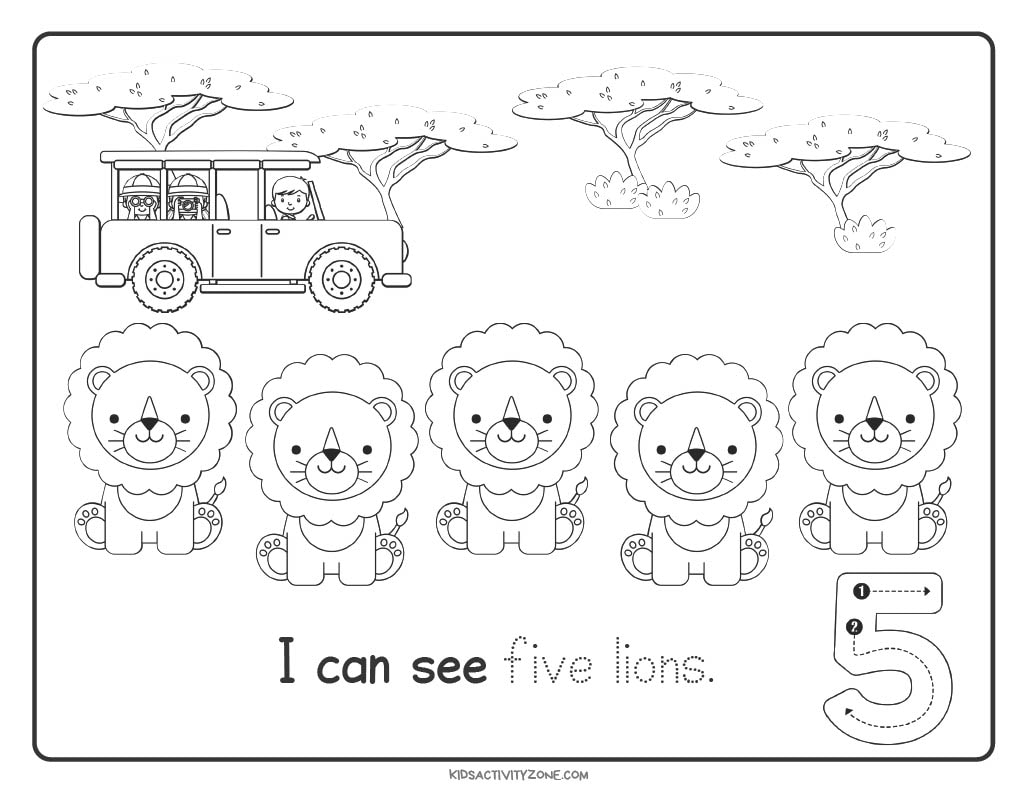 Safari Count and Trace Worksheets number 5