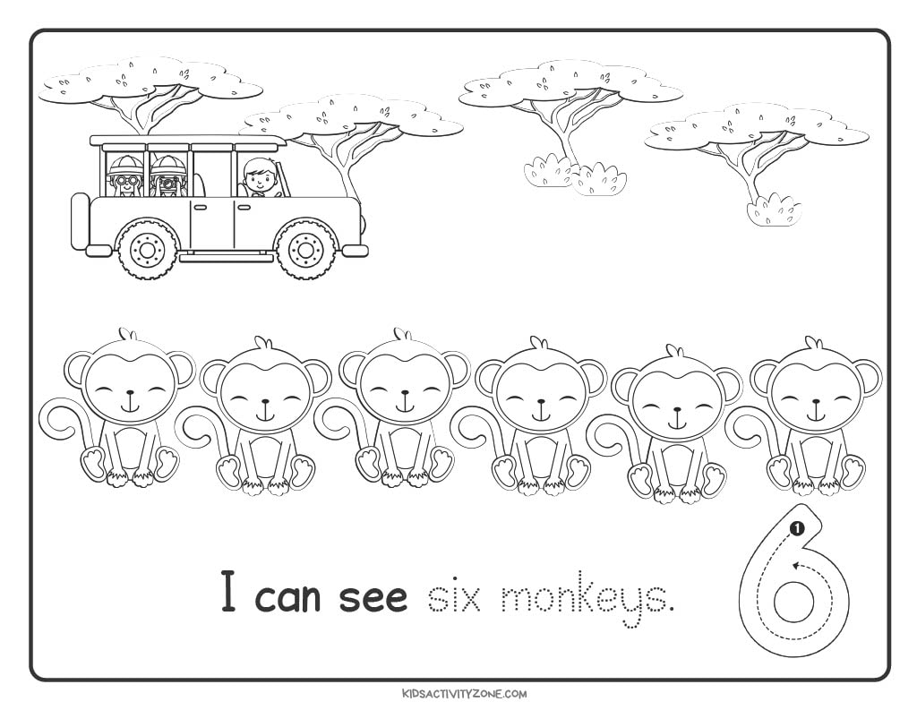 Safari Count and Trace Worksheets number 6