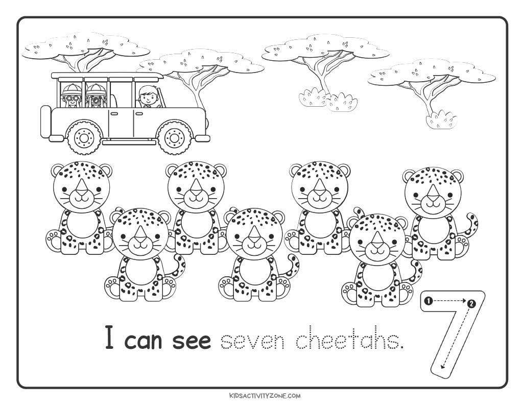 Safari Count and Trace Worksheets number 7