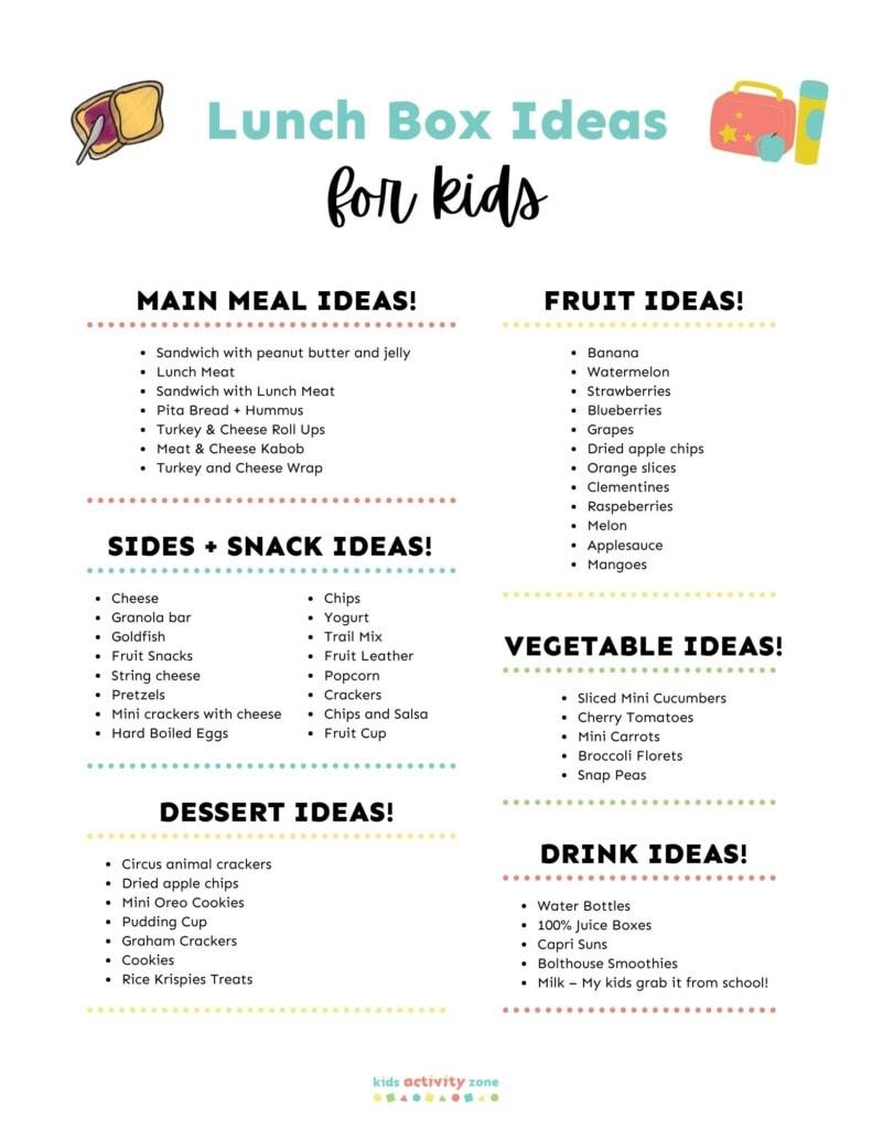 Printable list of Lunchbox Ideas