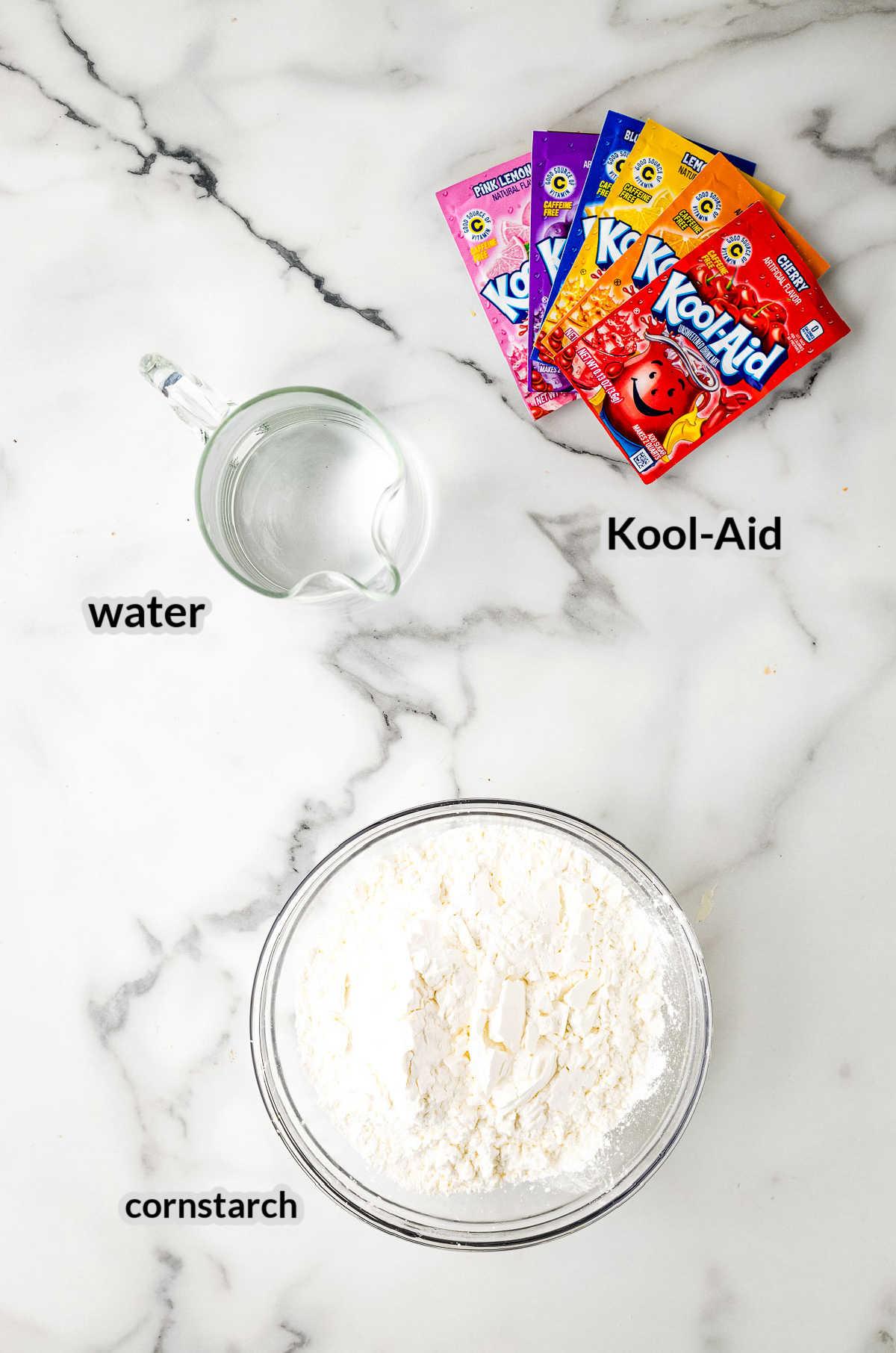 Overhead Image of Kool-Aid Oobleck Ingredients copy