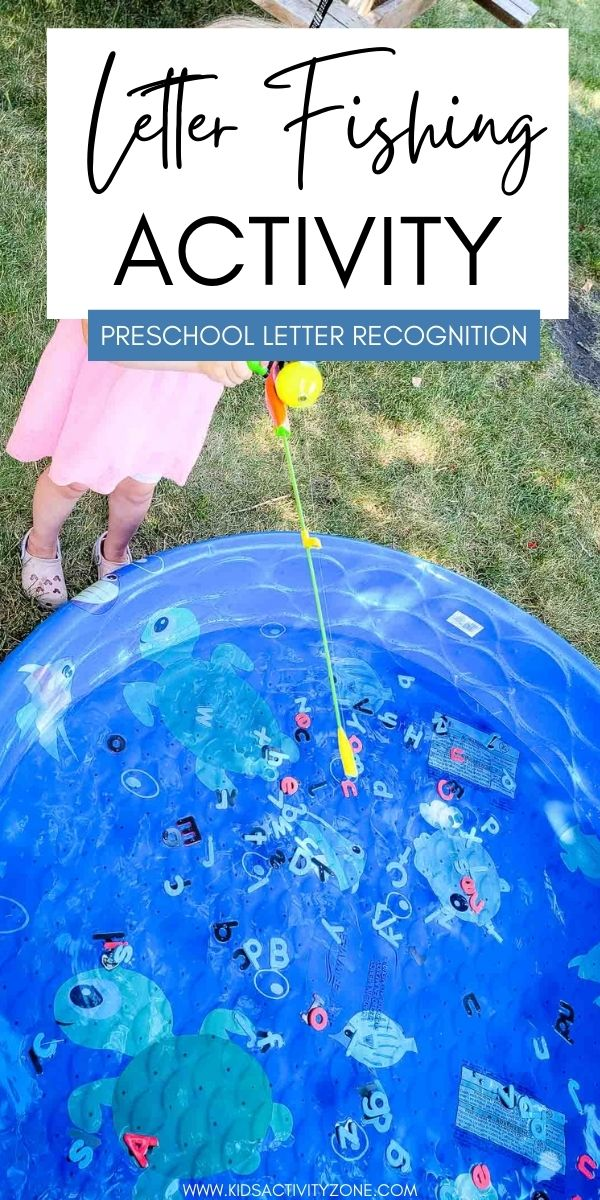 Kids will love this Letter Fishing Activity that's perfect for hot summer days! Toss magnetic letters into a kiddie pool and let them fish them out with a magnetic fishing rod. Then practice letter identification and letter sounds. Fun and play mixed together for the perfect preschool activity.