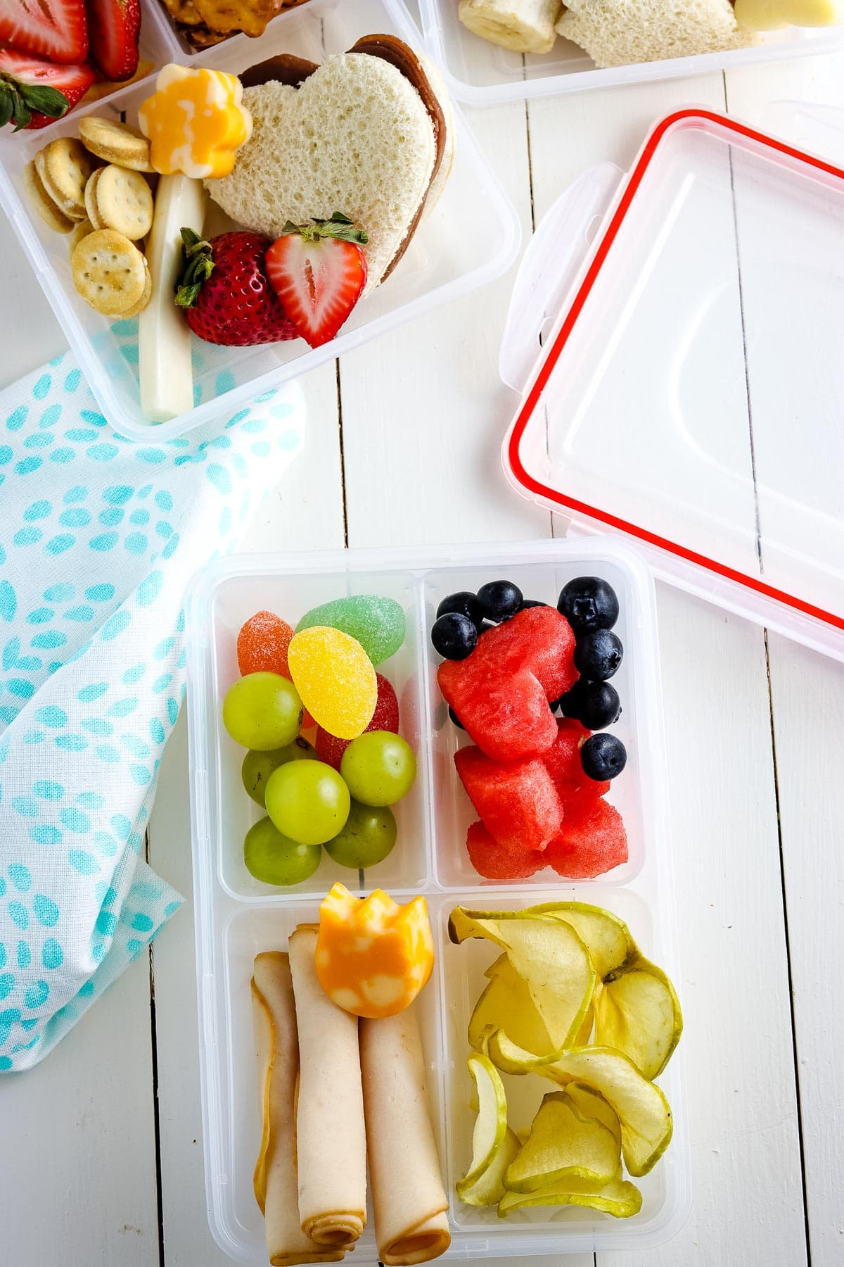 Lunch box with turkey, fruit, apple chips, cheese and more